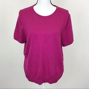 Lands' End Pink Short Sleeve Crewneck Sweater